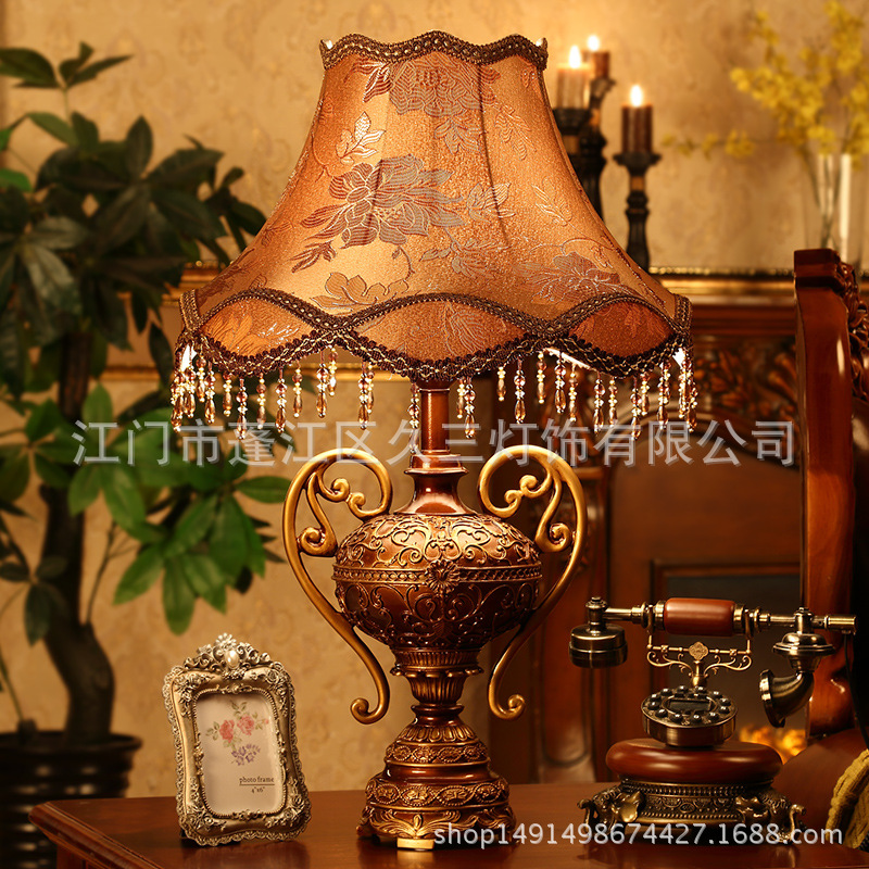 TUDA 46X71cm Large Table Lamp Vingage European Style Resin Table Lamp Luxury Tassel Cloth Lampshade Table Lamp For Living Room tuda 30x50cm free shipping european style resin table lamp for living room bedroom table lamp remote control dimming table lamp