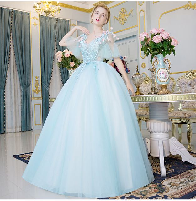 Medieval Renaissance Light Blue And White Gown Dress: 100%real Light Blue Rhinestone Beading Petals Court Ball