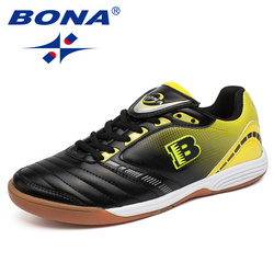 BONA New Typical Style Men Soccer Shoes Indoor Professional Cow Muscle Men Football Shoes Action Leather Fast Free Shipping