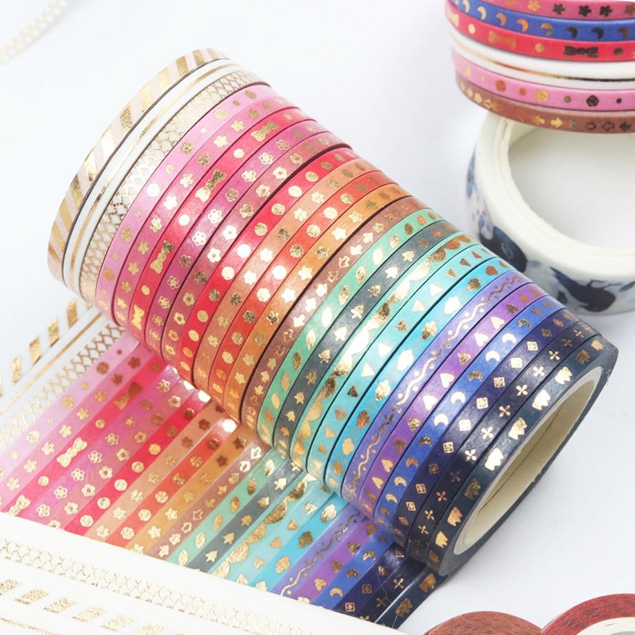24Rolls/Set Foil Slim Washi Tape Diy Decoration Scrapbooking Planner 3mm*5m Masking Tape Adhesive Tape Label Sticker Stationery
