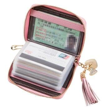 本革の女性のクレジットカードホルダープラスチックタッセル20カードスロット女の子id名刺ホルダー財布かわいいtarjetero mujer