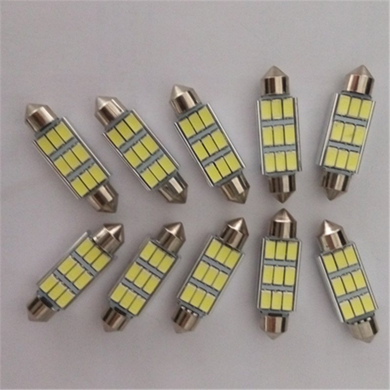 CYAN SOIL BAY 10pcs Festoon CANBUS 41mm 42MM C5W ERROR FREE 5630 5730 9 LED smd interior Dome Light Roof bulbs Lamp Ice Blue cyan soil bay 1x canbus error free white t10 5630 6 smd wedge led light door dome bulb w5w 194 168 921 interior lamp