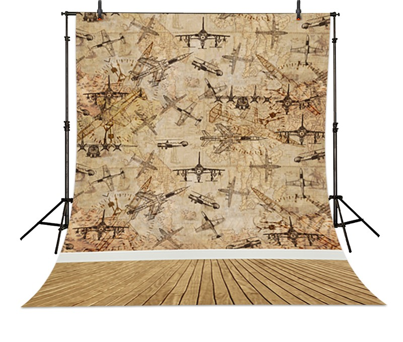 Aircraft Wallpaper Wood backdrop Vinyl cloth Computer printed Wooden Photography Backgrounds