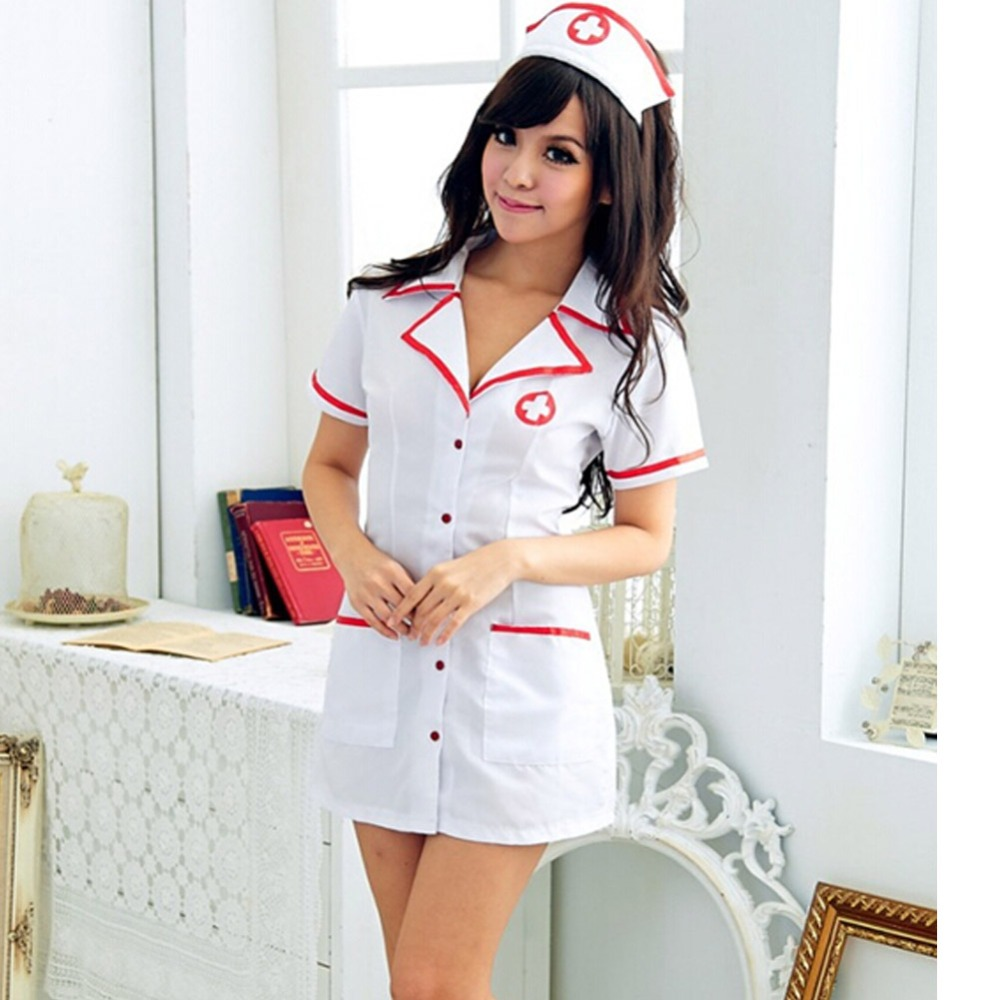 2015 Free Shipping New Nurse Uniform Temptaion Sexy V Neck Nurse Costume Set Cosplay Costume A1