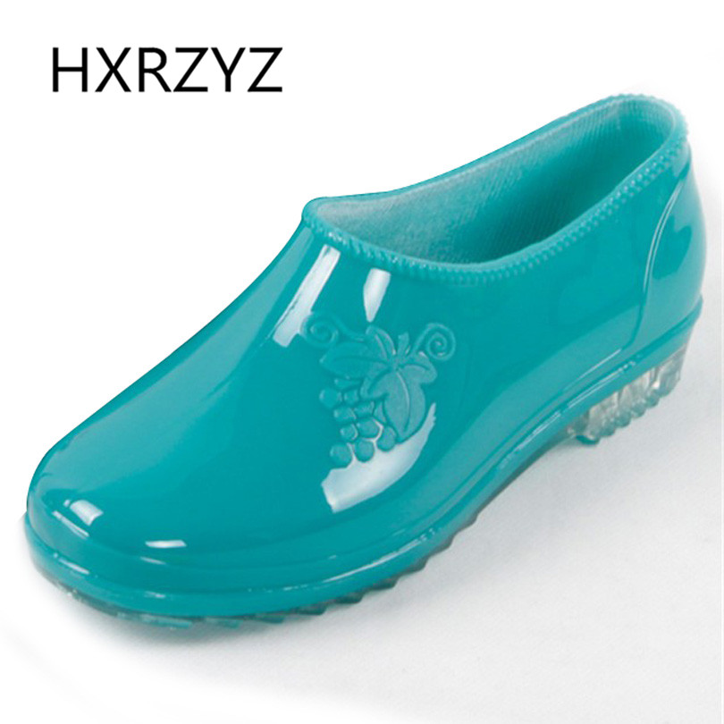 Women's Rain Shoes Low Style Jelly Rain Boots Women Round Toe Rubber Ankle Boots Lady Non-slip Waterproof Casual Shoes hxrzyz big size rain boots new fashion non slip rubber boots waterproof fishing boots in the tube rain shoes women