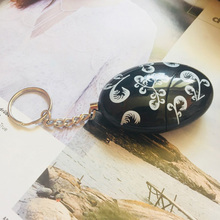 5pcs/pack black color egg alarm with flower printing Personal guard alarm women defense