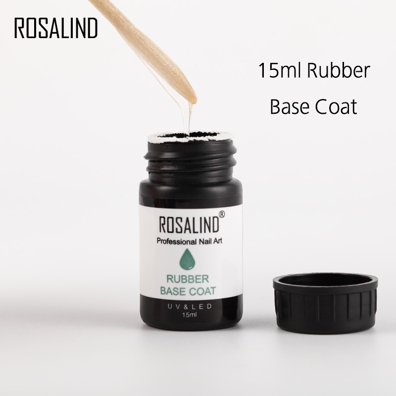ROSALIND Rubber Base Top Coat Gel Varnish High-quality Manicure 15ML Nails Semi Permanent Nail Polish UV Soak off Gel Lacquer