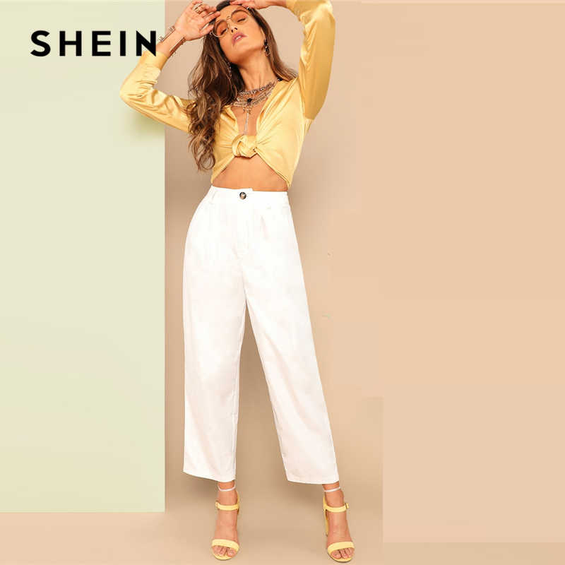 6b5bc9f93bd9 Detail Feedback Questions about SHEIN White Buttoned Front Straight Leg Pants  Women Spring Casual Elegant Trousers Zipper Fly Solid Mid Waist Crop Pants  on ...