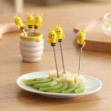 6Pcs Little Bee Fruit Forks Kitchen Stainless Steel Cartoon Silicone Bee Fork Salad Dessert Picks Fruit Vegetable Tools 3