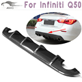 Q50 Carbon Fiber Rear Diffuser Lip Spoiler Fit For Infiniti Q50 Bumper 2013 2014 2015 Black Carbon Fiber