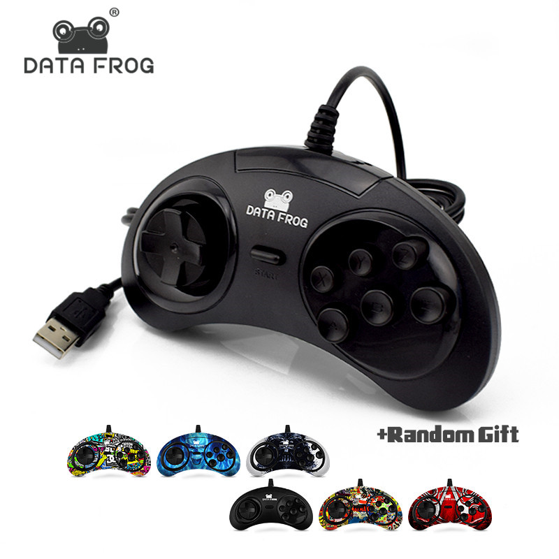 Data Frog USB Classic Gamepad 6 botones Juego USB Joystick Holder para PC Controladores de disco MAC