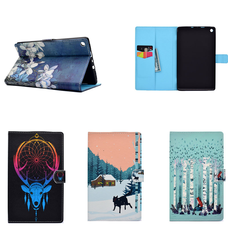 Print PU Leather Case Cover For New Amazon Fire HD 8 2017 Release 7th Generation 2016 6th Flip Stand Protective Shell Skin capa for amazon 2017 new kindle fire hd 8 armor shockproof hybrid heavy duty protective stand cover case for kindle fire hd8 2017
