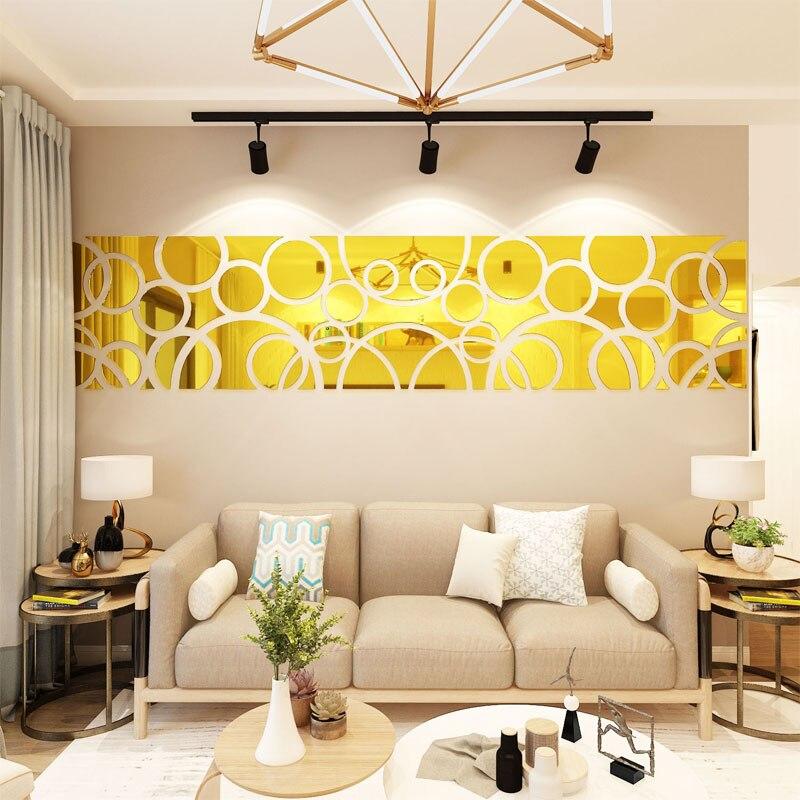 Acrylic Mirror stickers Wonderful TV Background Decoration Geometry Pattern Wall Sticker Bedroom Living Room