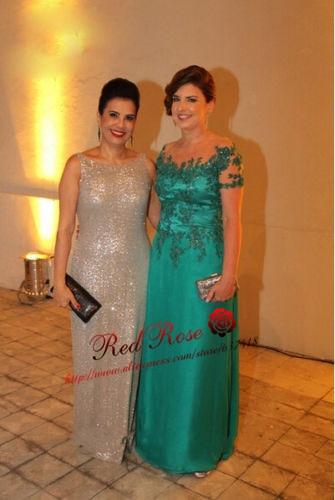 Зеленые платья с короткими рукавами для матери невесты с кружевом Иллюзия Аппликации шеи Vestido de Festa Longo Madrinha - Цвет: Зеленый