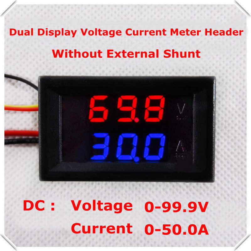RD No shunt dual LED Display 0.28 DC0-100V/50A Car voltage current meter Digital Ammeter Voltmeter 5 wire [4 pcs/lot](China)
