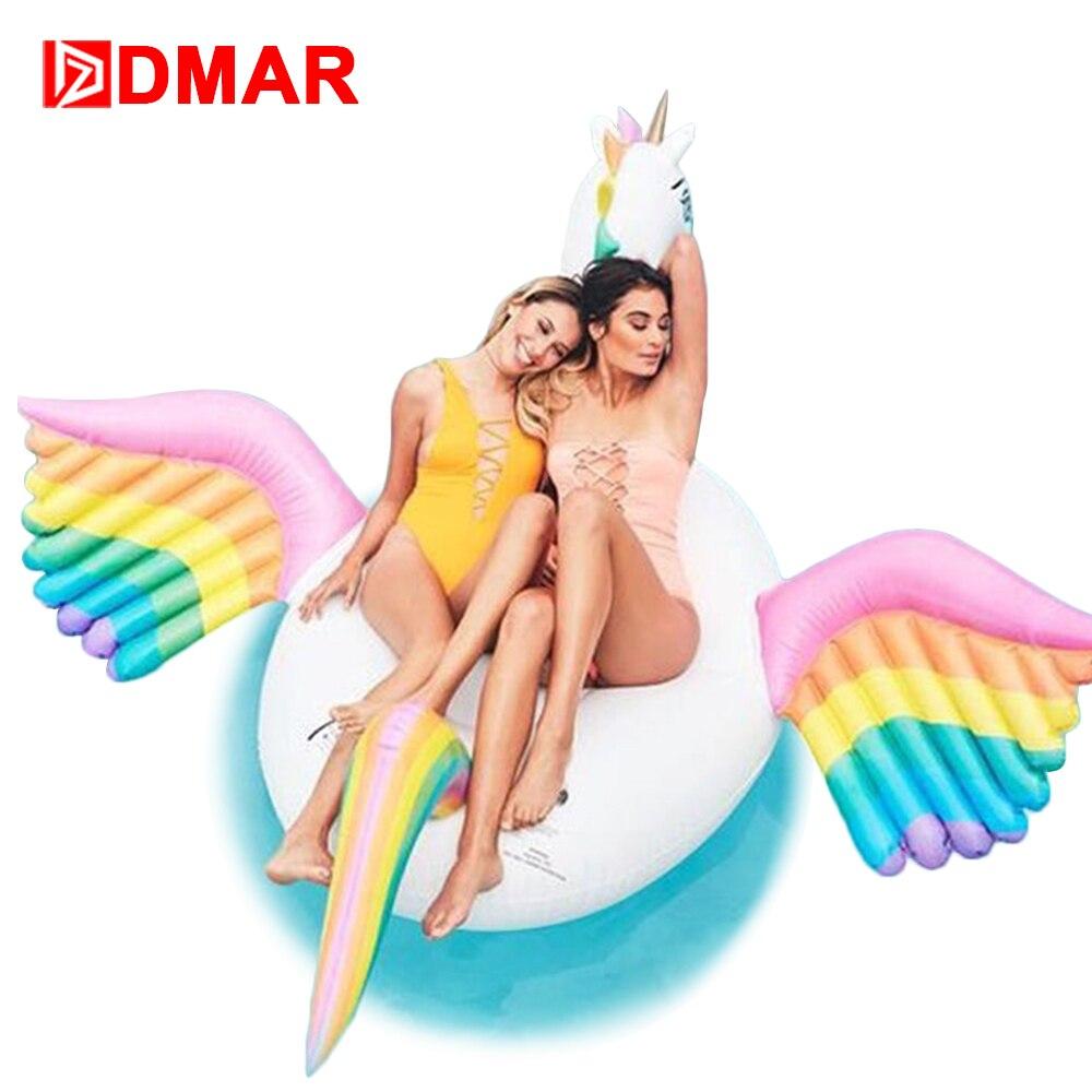 DMAR Inflatable Colorful Pegasus Unicorn Gaint Pool Float Mattress Sunbathe Mat Swimming Ring Circle Beach Sea Water Party Toys