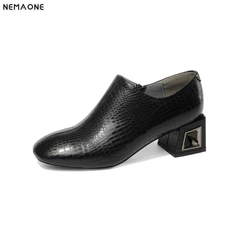 Bombas Pie oro 2019 Más Zapatos Altos Tacones Cuero Mujer Otoño Del Negro De Nuevo Dedo Nemaone Primavera Genuino Redondo SUxAwU