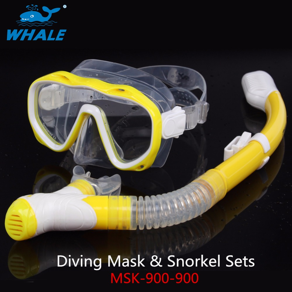 Diving Snorkeling Equipment ,WHALE Adult Dry Top Snorkel Anti-fog Len with 2-windows Tempered Glass Diving Mask MSK-900-900