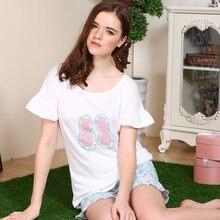 Free Shipping Pajamas Sets Cotton Pyjamas Women Short Sleeve Sleepwear  Summer Home Lounge 20b130554