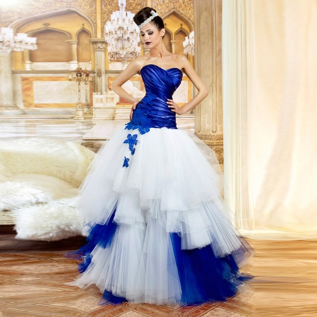 Strapless Sweetheart Ball Gown Royal Blue And White Wedding Dresses