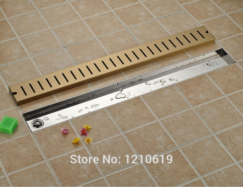 Newly Ti-gold Plate Bathroom Floor Drain Gound Drainer 90*10cm Rectangle Fashion Shower Drainer слингобусы ti amo мама слингобусы сильвия