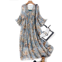 Manufacturer Direct 2019 Summer Light Cooked Half Sleeve V-neck Princess Beach Elegant Put on a Large Style Two-Piece Dress