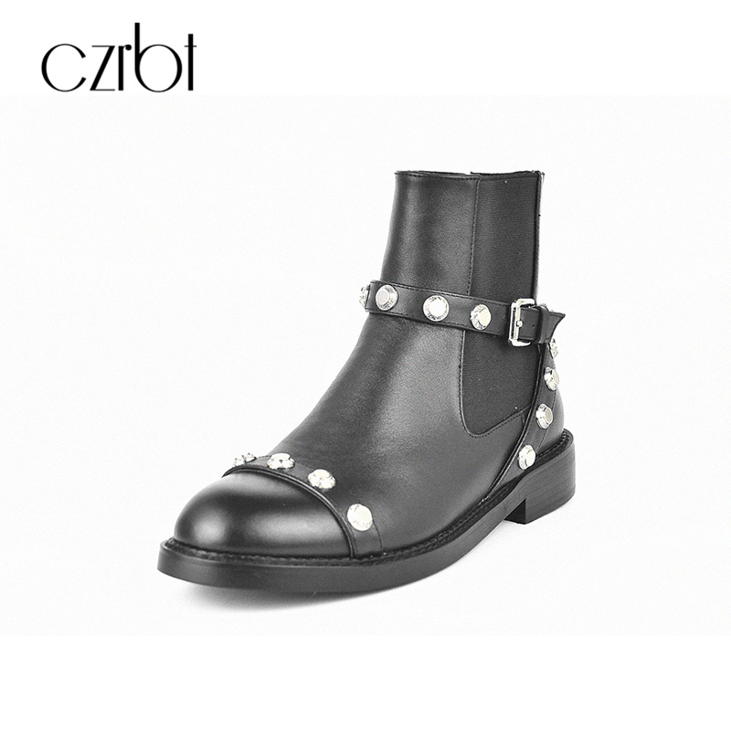 CZRBT Women Punk Metal Style New Fashion Chelsea Boots With Genuine Cow Leather Ankle Boots Causal Martin Shoes For Ladies