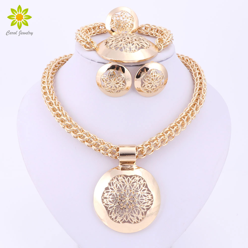 2020 Latest Fashion African Jewelry Set Round Pendant Gold Color Dubai Big Necklace Earrings Wedding Sets Gift For Women