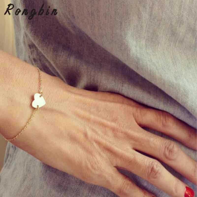Min 1 pc novedad moda accesorios lindo Color oro Corazón de mano o triángulo One Love joyería pulsera de cadena para mujer chica