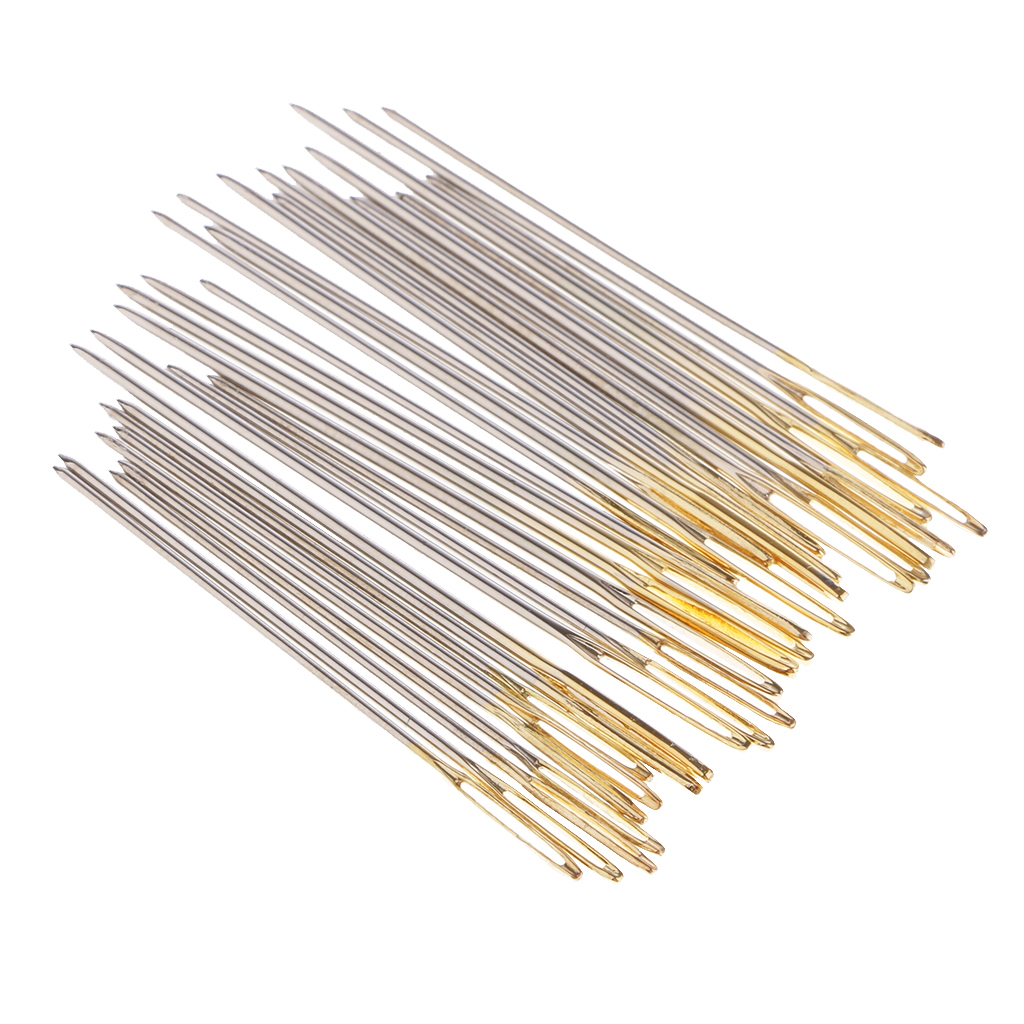 90 Pieces Large Eyes Sewing Needles Golden Color Eye Hand Stitching Needles Cross Stitch Embroidery Needles Size 22# 24# 26#
