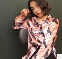 Restore ancient ways of printing luster silks and satins summer easy temperament pink long sleeve blouse