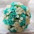 Azul y Blanco de La Boda Ramo Hecho A Mano Flor Artificial Rose buque casamento Ramo de Novia para La Boda Decoración