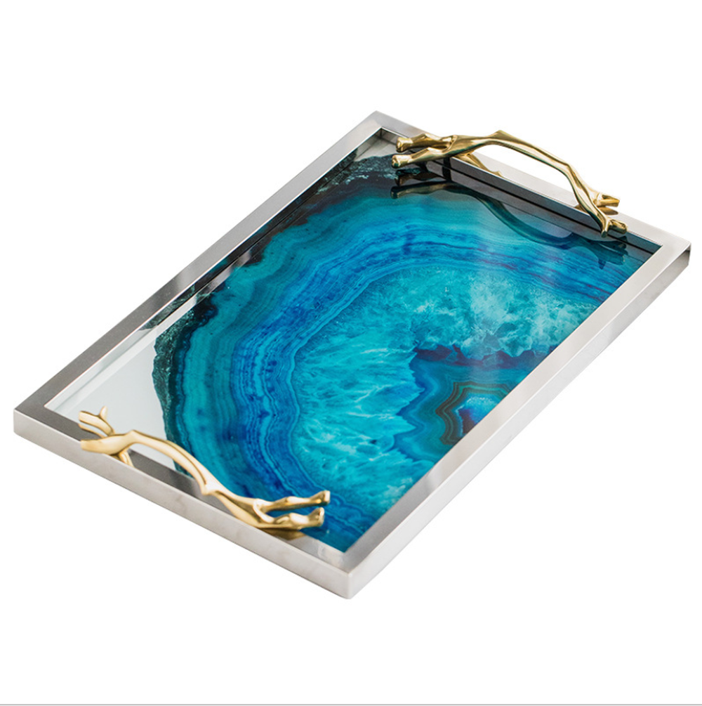 Image 4 - Modern Light Luxury Lake Blue Agate Pattern Rectangular Living Room Kitchen Glass Cup Tray Table Storage Tray Serving Platter-in Storage Trays from Home & Garden
