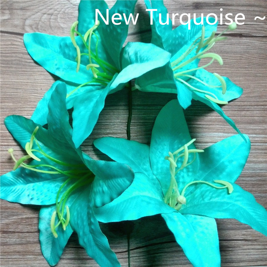 Artificial silk tiger lily head 12 turquoise fabric flower artificial silk tiger lily head 12 turquoise fabric flower imitationfull open faux lily decoration on aliexpress alibaba group izmirmasajfo