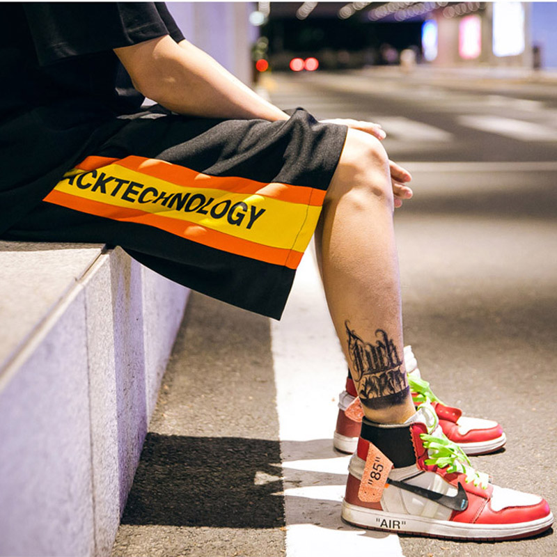 Hfnf Side Lettering Print Shorts New Fashion Men Shorts Trousers Men Casual Shorts Summer Elastic Waist Males Loose Shorts