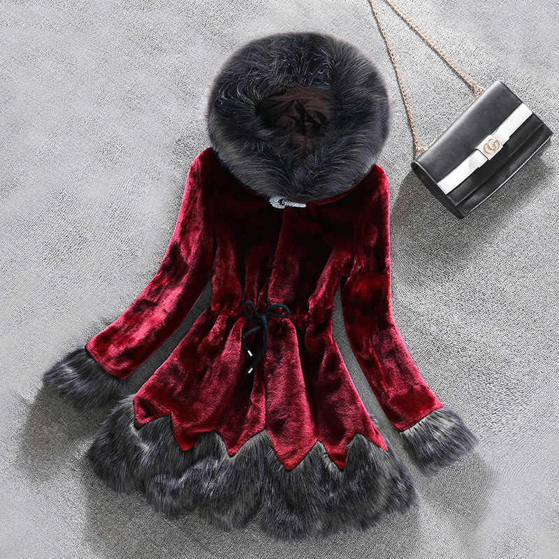 Red Wine Faux Fur coat Women 2019 Autumn Winter Mink coat Fox fur collar Hooded Jacket Plus Size 6XL top Fur Coats female X933
