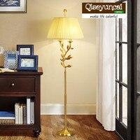 Qiseyuncai 2018 new American minimalist living room copper floor lamp atmosphere creative study bedroom fabric floor lamp