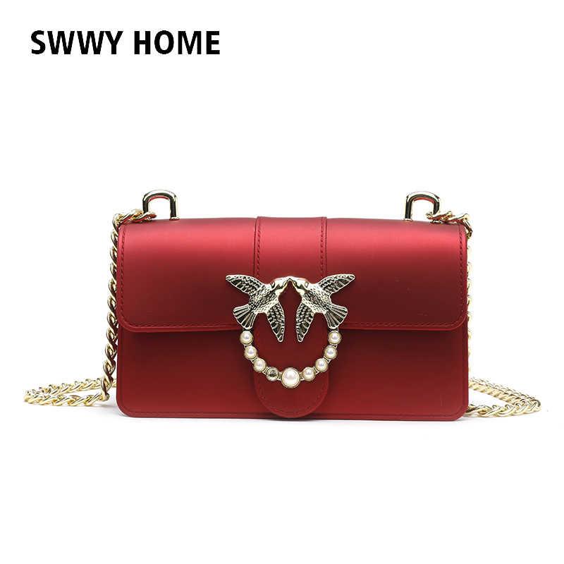 2343c4e42b3a Ласточка женский бренд мешок руки женщина Курьерские сумки леди матовая  цепочка Для женщин модные кожаные желе
