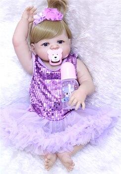 "22""/55cm full silicone babies dolls for Sale Dolls bebe violet dress new design bebe fashion dolls menina com corpo de silicone"