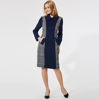 Queenus 2017 Autumn Winter Women Wool Dress Turn Down Collar Plaid Color Block Patchwork Knee Length Dark Blue Women Dresses
