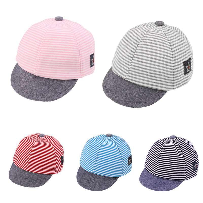 Unisex Baby Baseball Cap Summer Boys Girls Breathable Infant Sun Hats Cotton Stripe Pentagram Children Sunshade Hat Peaked Caps