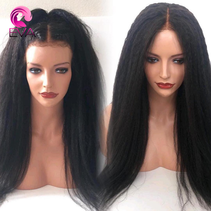 Eva Kinky Straight Lace Front Human Hair Wigs 150 Density Brazilian Remy Hair Wigs 13x6 Deep