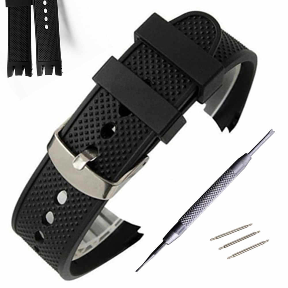 Silicon Rubber Strap 21mm black double-deep recesses Replacement Watch Band Strap for Swatch YRS Watch Watchband