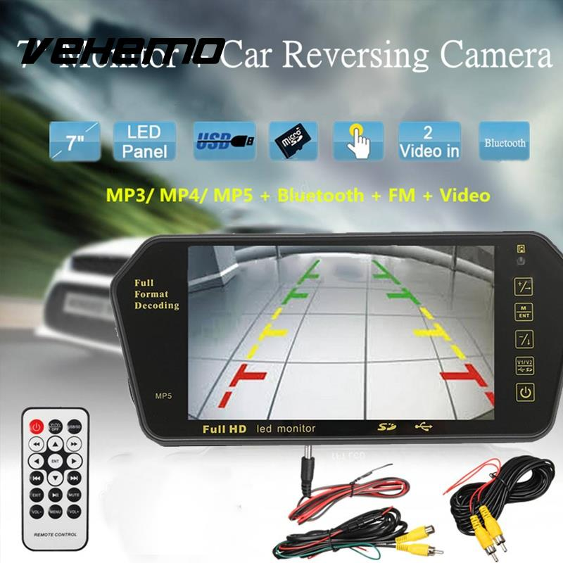 Vehemo 7 Inches LCD Car Screen Rear View Camera Mirror Monitor 2 Video Inputs