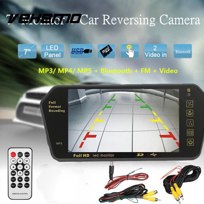Vehemo 7 Pouces Écran LCD De Voiture Vue Arrière Caméra Miroir Moniteur 2 Entrées Vidéo