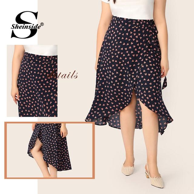 Sheinside Plus Size Heart Print Wrap Skirt Women 2019 Spring Boho Side Split A Line Skirts Ladies Casual Belted Skirt 5