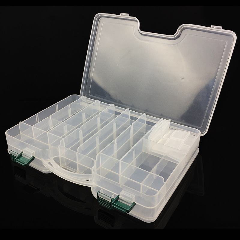 29.5 x 19 x 6cm Durable Movable Compartments Fishing Tackle Box Double Sided Fishing Lure Bait Hooks Storage Case