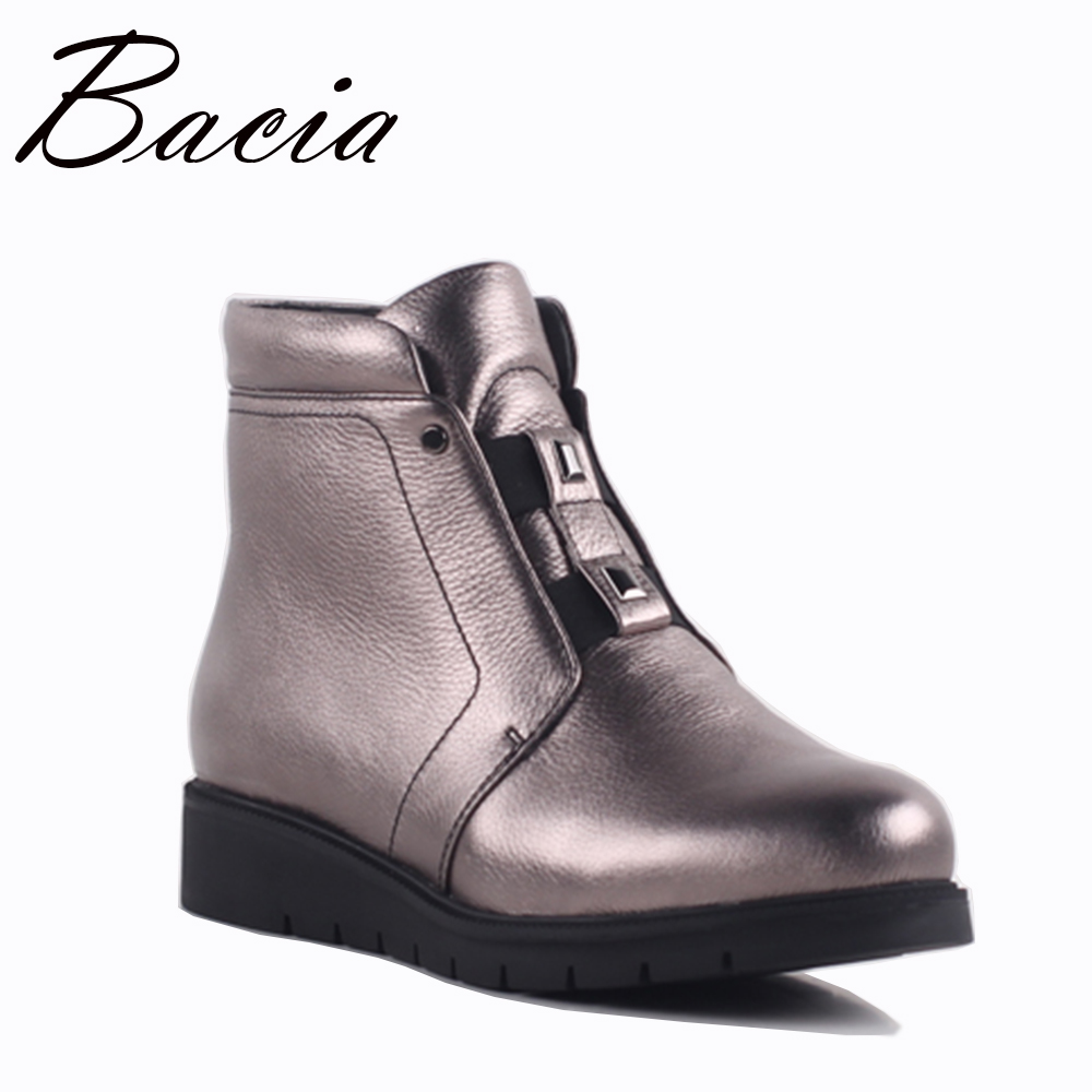 Bacia Casual Silver Cow Leather Boots Autumn Winter Warm Wool Fur Boots Female Ankle Boots Square Heels Round Toe Shoes SA079