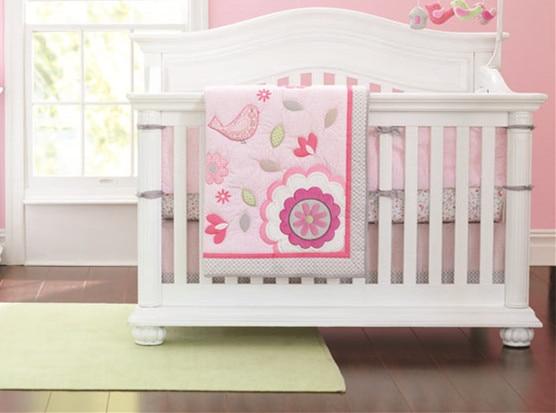 Discount! 7pcs Embroidered Kids Duvet Children Comforter Baby Crib Bedding Set,include(bumpers+duvet+bed cover+bed skirt)