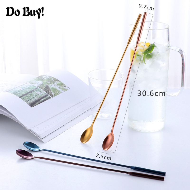 1 Pcs Bar Cocktail Lepels Rvs 30.6 Cm Lange Handvat Barman Stirrer Drinken Tool Fruit Mengen Bar Accessoires